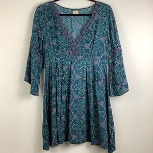 O'Neill Bohemian Paisley Summer Beach Dress Blue
